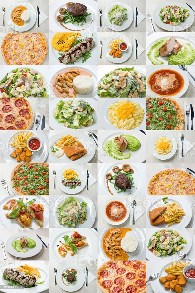 Collage of variety food on plate stock photo