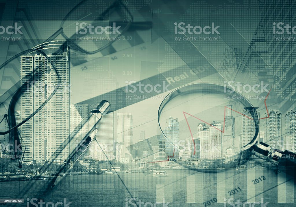 Collage of various business elements stock photo