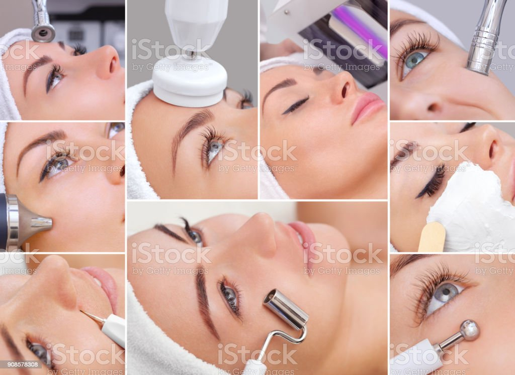 Collage of various cosmetic procedures for a young, beautiful woman in a beauty salon stock photo
