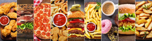 collage of various fast food meals and drinks stock photo