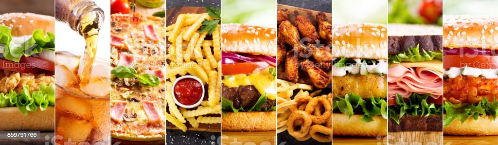 collage of various fast food products stock photo