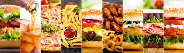 collage of various fast food products - fast food restaurant stock pictures, royalty-free photos & images