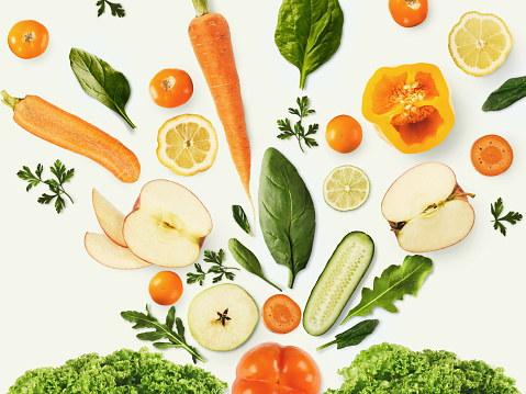 Collage of various fruits and vegetables on white background, isolated