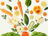 istock Collage of various fruits and vegetables on white background, isolated 931752522