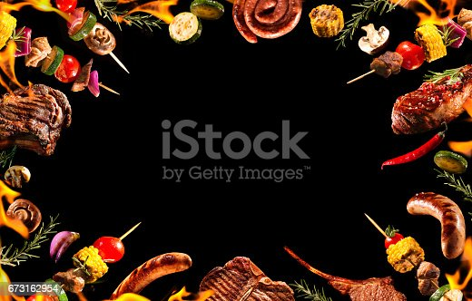 istock Collage of various grilled meat and vegetables 673162954