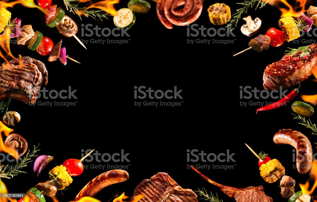 Collage of various grilled meat and vegetables stock photo