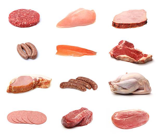 Collage de diferentes carnes - foto de stock