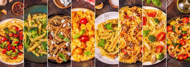 colagem de vários pratos de massa - comida italiana - fotografias e filmes do acervo