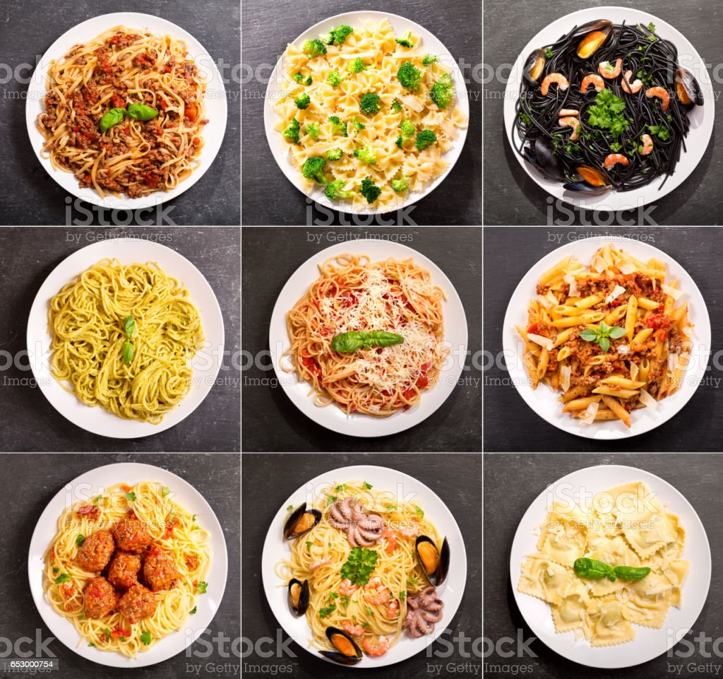 collage of various plates of pasta stock photo
