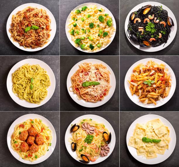 collage aus verschiedenen teller pasta - spaghetti mit spinat stock-fotos und bilder