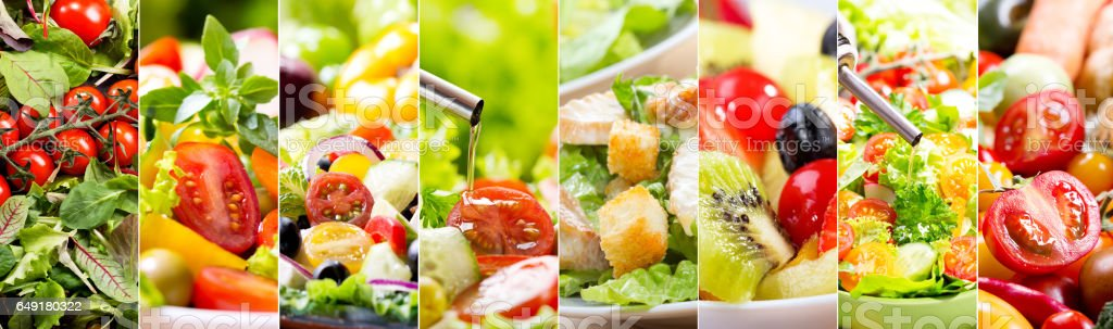 collage of various salad stock photo