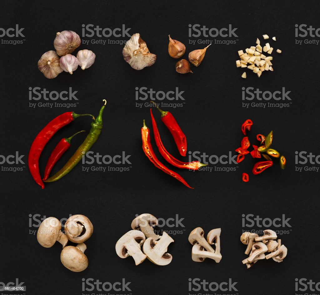 Collage of various vegetables on black background, isolated stock photo