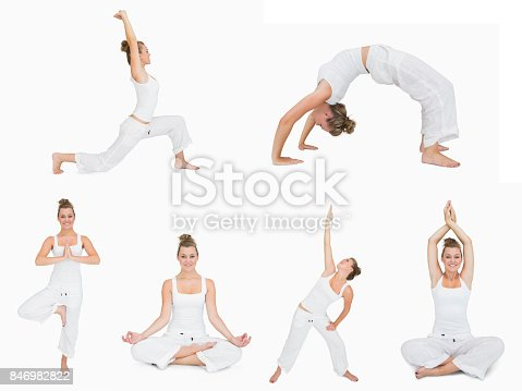 istock Collage of woman doing yoga 846982822
