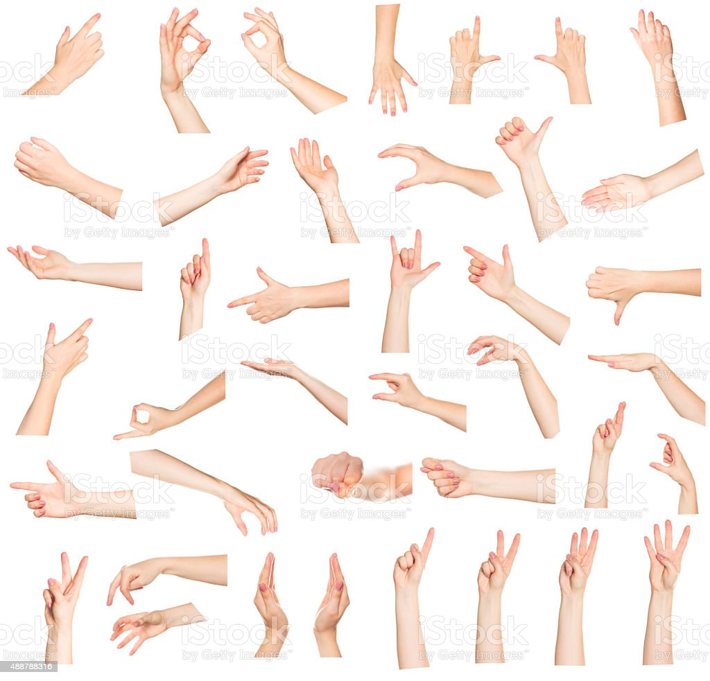 Collage of woman hands on white backgrounds bildbanksfoto