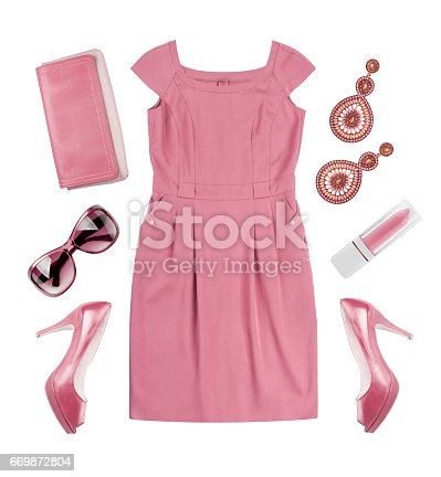 istock Collage of woman pink summer dress and accessories on white 669872804