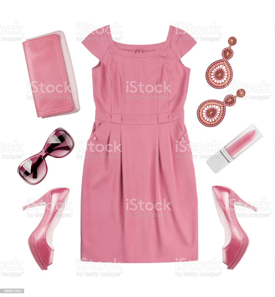 Collage of woman pink summer dress and accessories on white stock photo
