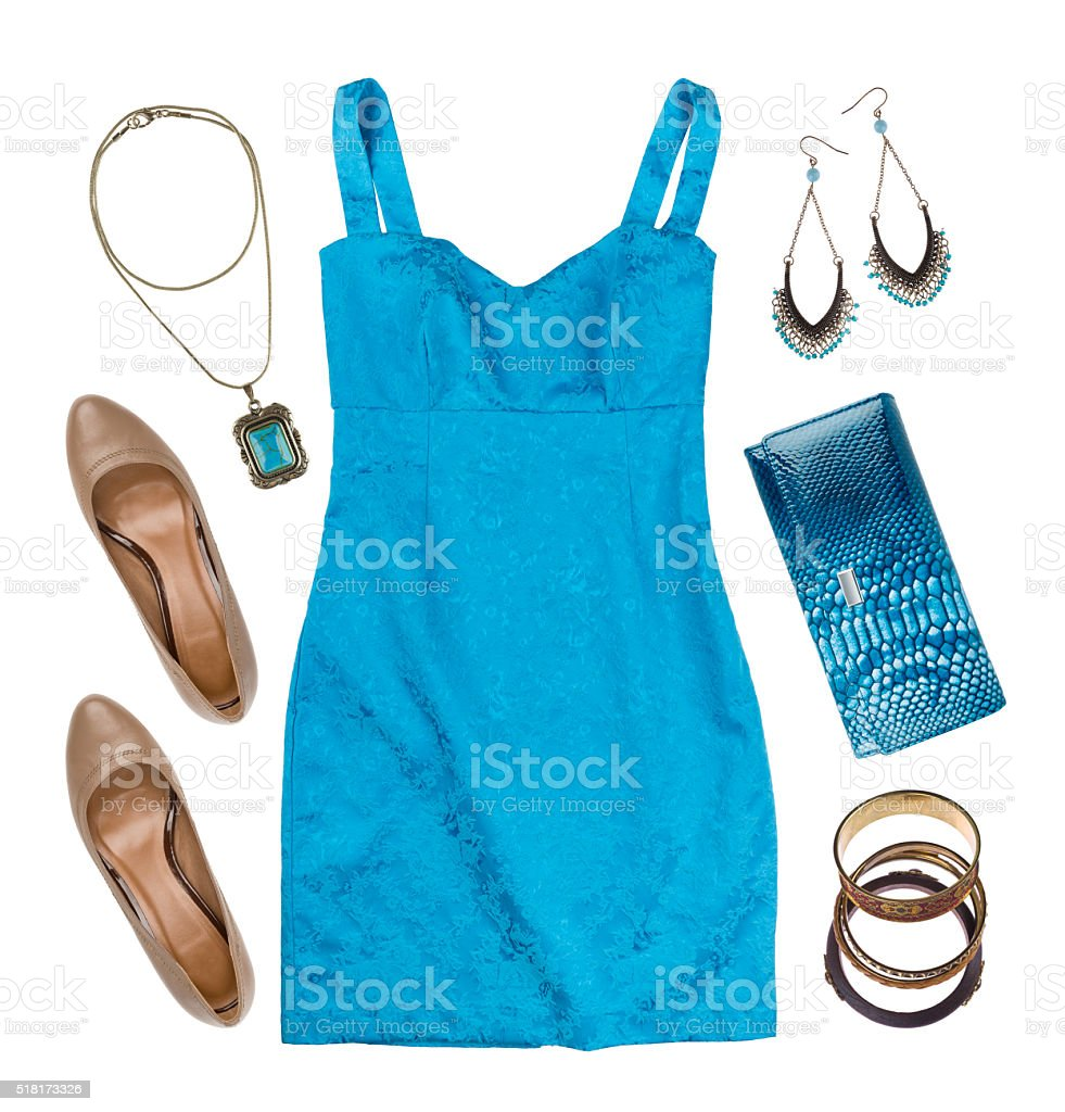 Collage of woman summer clothes and accessories isolated on white stock photo