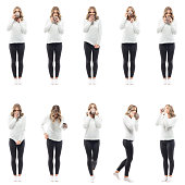 istock Collage of women in casual clothes soft fluffy sweater at home drinking coffee or tea. 1335278806