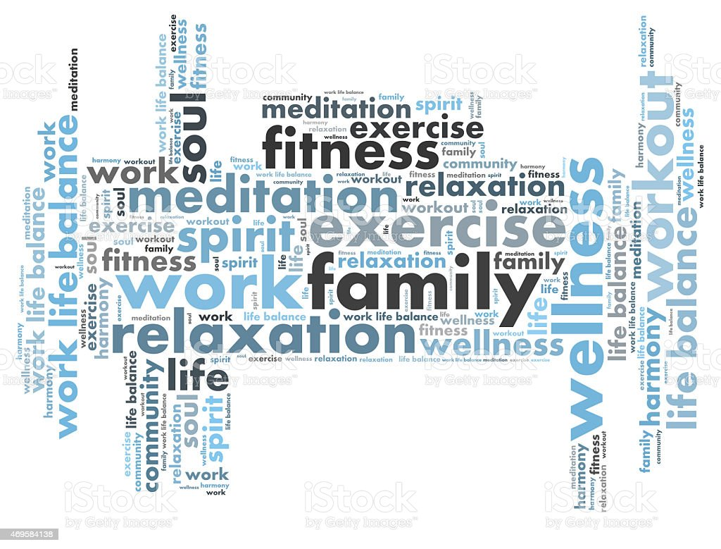 Collage of work life balance phrases stock photo