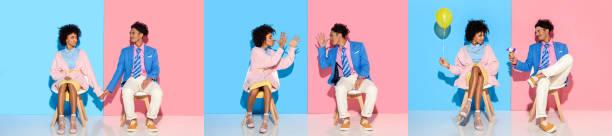 collage von jungen afrikanischen amerikanischen mann und frau sitzen, hand in hand und herumalbern auf blau und rosa hintergrund - eis ballons stock-fotos und bilder