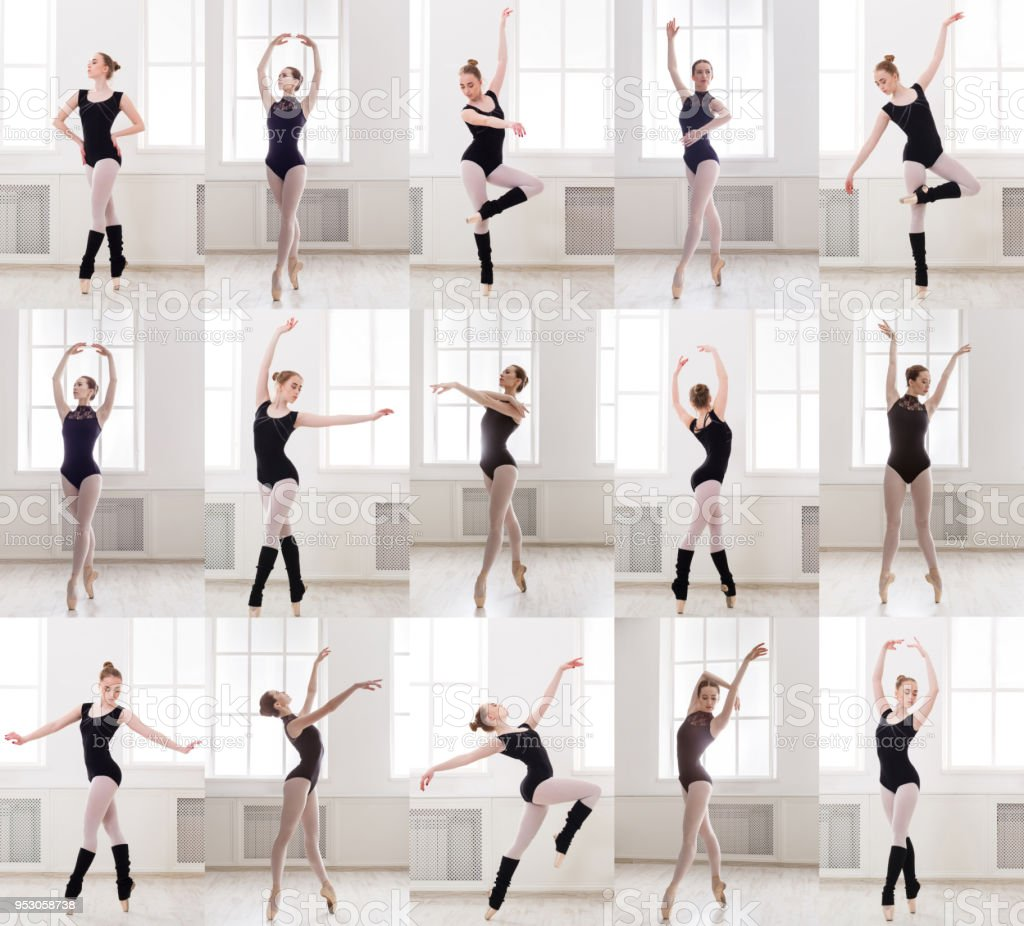 Collage Of Young Ballerina Standing In Ballet Poses Stock Photo Download Image Now Istock