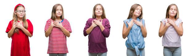 collage von jungen schönen mädchen geißlein über isolierte hintergrund lächelnd mit hände auf die brust mit geschlossenen augen und dankbar geste auf gesicht. gesundheitskonzept. - die wahrheit tut weh stock-fotos und bilder