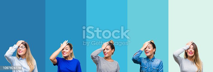 istock Collage of young beautiful woman over blue stripes isolated background surprised with hand on head for mistake, remember error. Forgot, bad memory concept. 1097824778