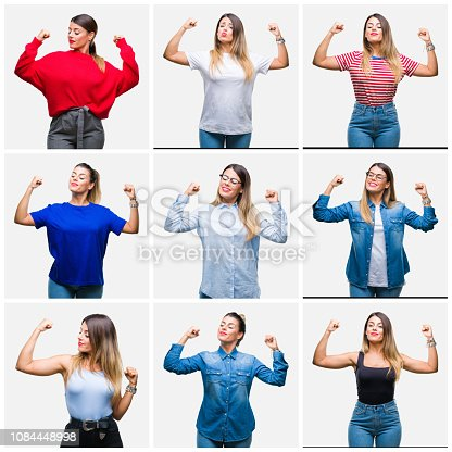 istock Collage of young beautiful woman over isolated background showing arms muscles smiling proud. Fitness concept. 1084448998
