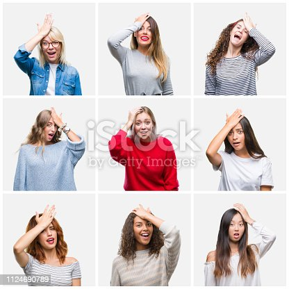 istock Collage of young beautiful women over isolated background surprised with hand on head for mistake, remember error. Forgot, bad memory concept. 1124690789