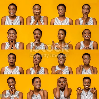Collage of young african american woman portraits with different emotions and gestures, human mood swings