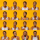 istock Collage of young black woman expressions and emotions 1172140869