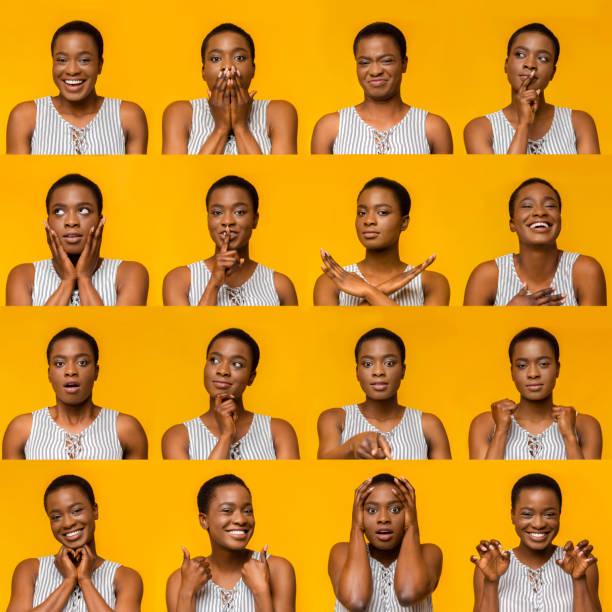 若い黒人女性の表情と感情のコラージュ - emotions ストックフォトと画像