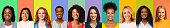 Collage of young multiethnic happy women over colorful backgrounds, panorama, international beauty community