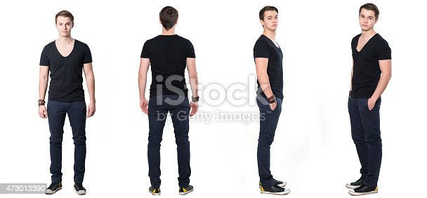 1045886560 istock photo Collage of young Man from all sides.Iisolated on white backgroung 473013390