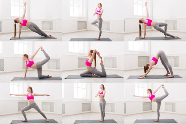 Collage of young woman practicing yoga stock photo