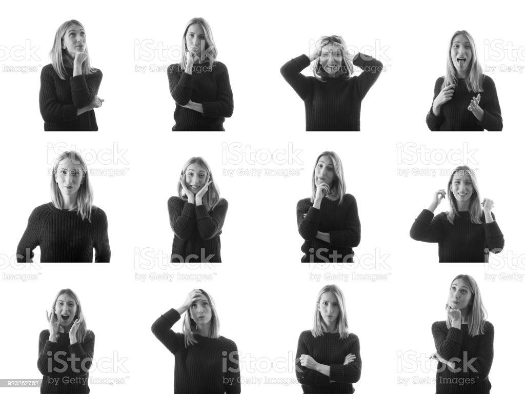 Collage av ung kvinna med olika ansiktsuttryck bildbanksfoto