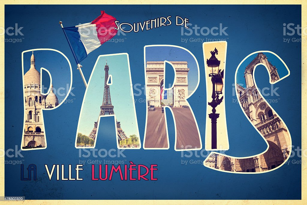 Collage PARIS,  postcard style, vintage process stock photo