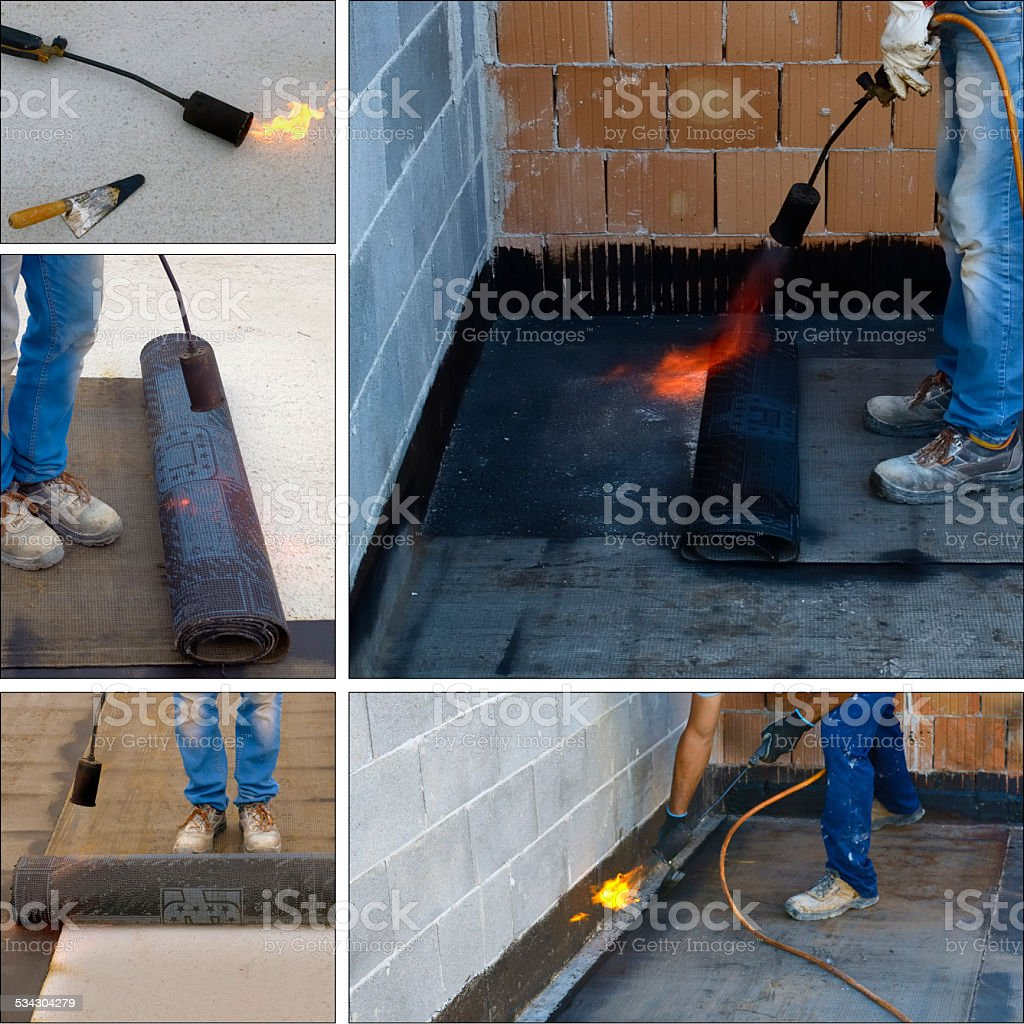 Collage preparing part of bitumen roofing felt stock photo