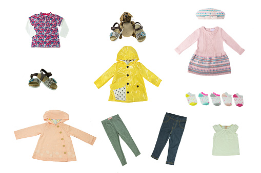 4f2fe5b76c Collage Set Of Children Clothes Concept Spring Autumn And Summer Clothes  Isolated On White Close Up Stock Photo & More Pictures of Advertisement -  iStock