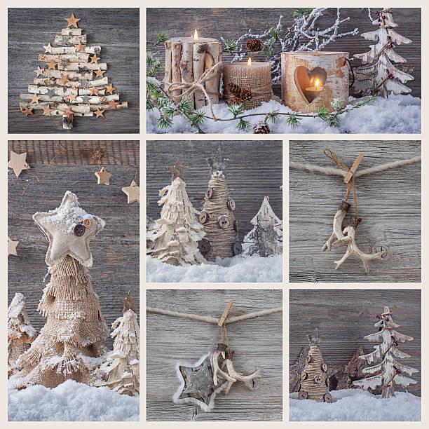 collage mit weihnachtsdekoration - foto collage geschenk stock-fotos und bilder
