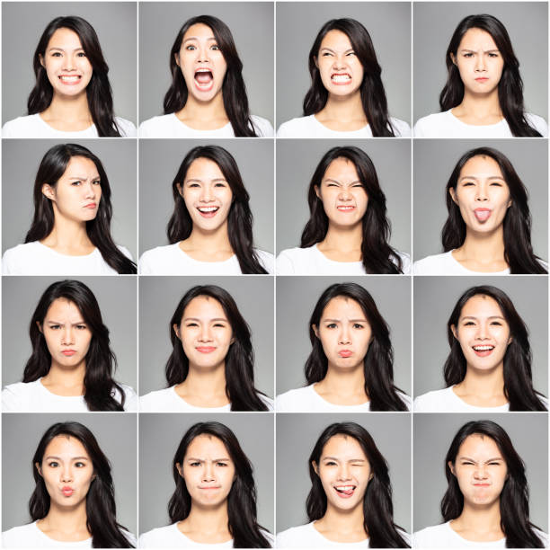 collage with different emotions in same young woman stock photo