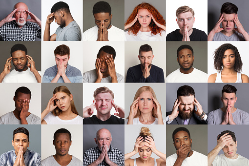 Collage with multiethnic people suffering from headache, stress or problems