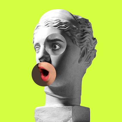 Collage with plaster head model, statue and female portrait isolated on green background. Negative space to insert your text. Modern design. Contemporary colorful and conceptual bright art collage.