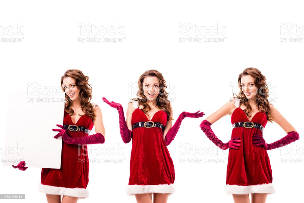 collage with santa girls stock photo