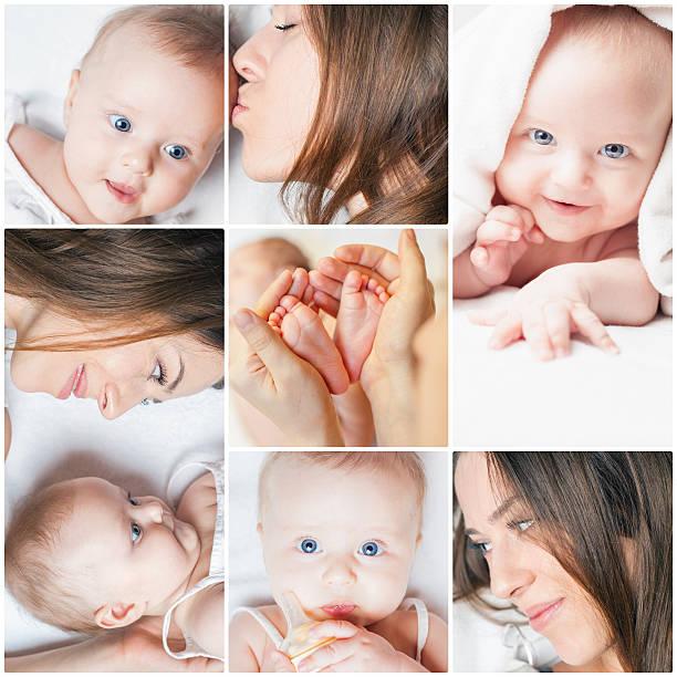 Collage de varias fotos de madre con su bebé - foto de stock