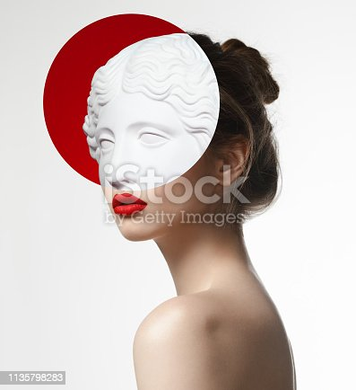 Collage with female portrait and plaster head model (mass produced replica of Head of an Amazon)