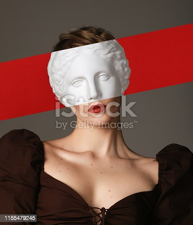 Collage with female portrait and plaster head model (mass produced replica of Head of Aphrodite of Knidos)