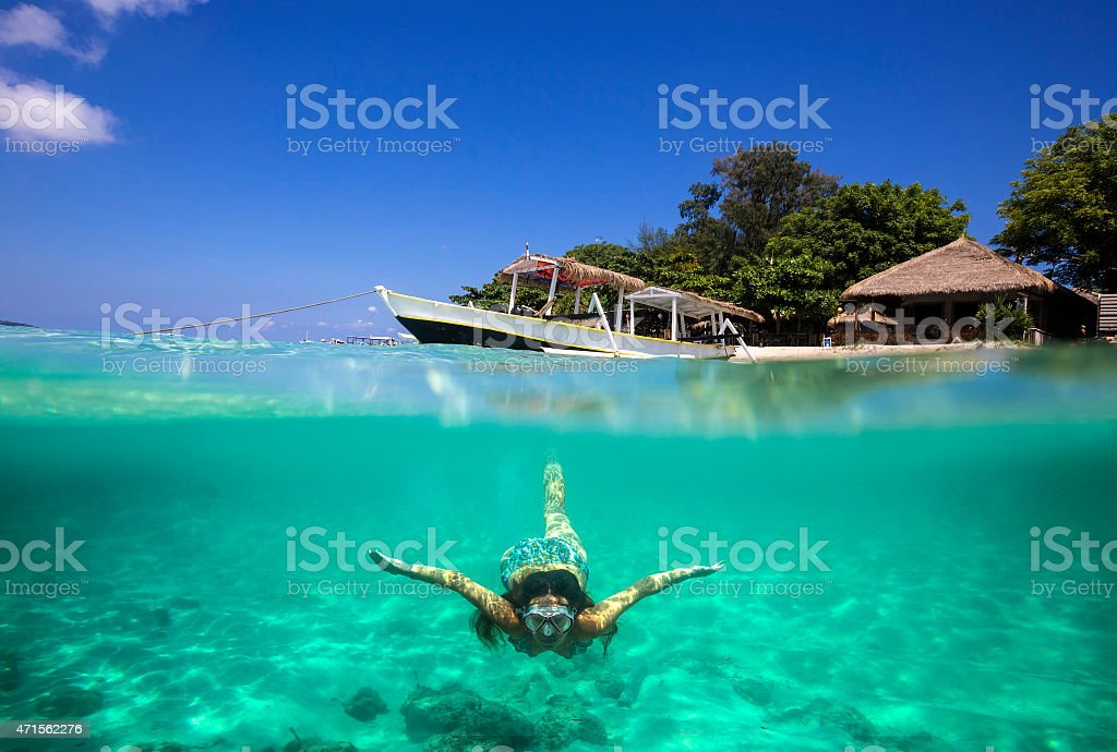 Collage with Woman Diving to Underwater stock photo