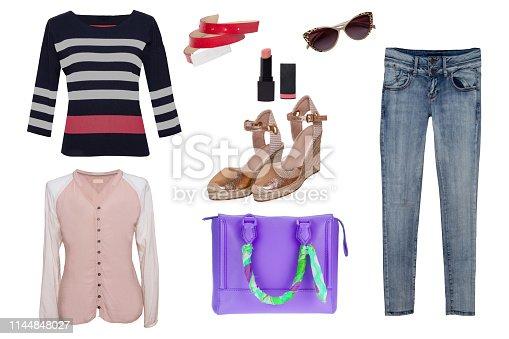4182d44a3 1048276946istock Ropa de mujer collage. Conjunto de jeans de mujer  elegantes y de moda