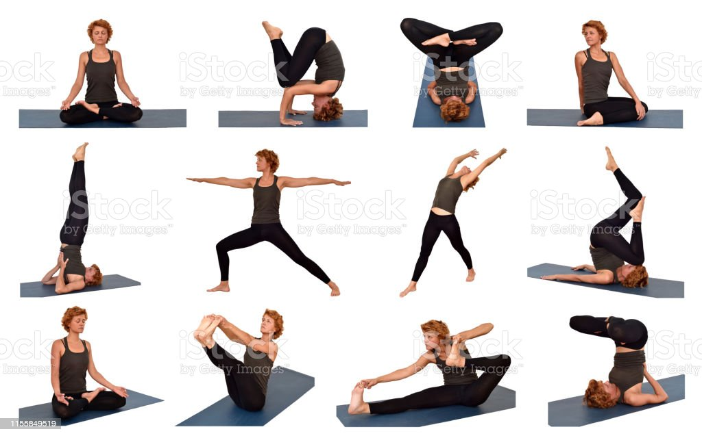 Collage Woman In Different Yoga Poses Stock Photo Download Image Now Istock